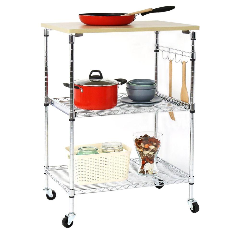 Shop for 3-Tire Metal Rolling Kitchen Cart Work Station Storage ...