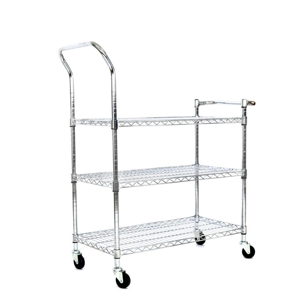 Shop for Kinbor 3 Tier Chrome Rolling Shelving Rack Metal Wire Cart ...