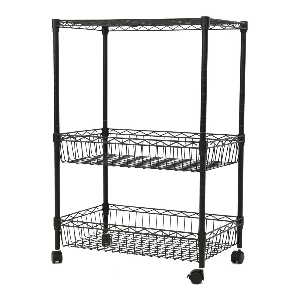 Shop for Kinbor 3 Layer Rolling Kitchen Trolley Cart Metal Wire ...