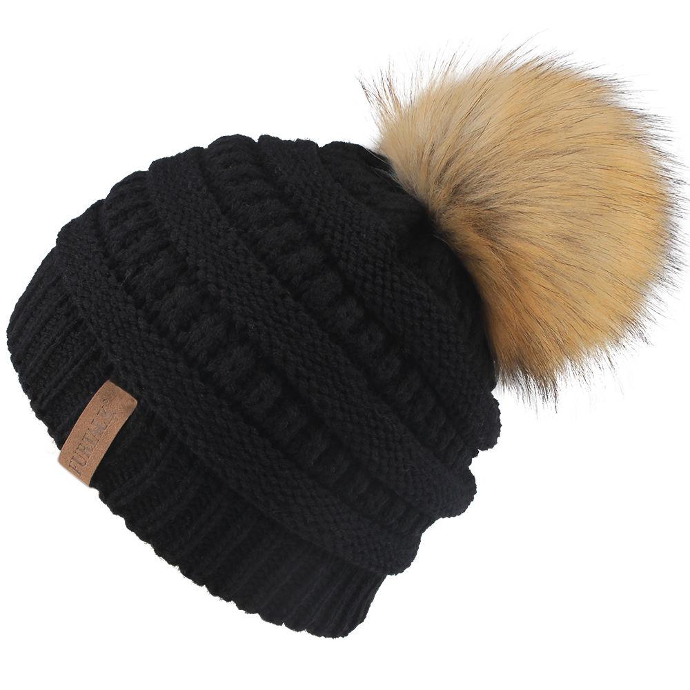 Girls Boys Kids Warm Knitted Faux Fur Pom Pom Beanie Bobble Ski Hat Slouch Cap