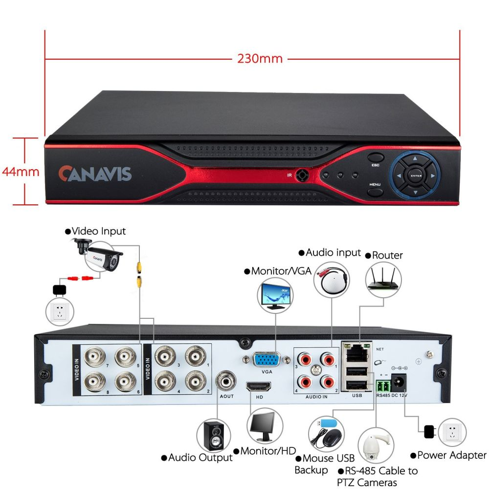 Shop For Canavis Ahd 8ch 960h 5 In 1 H264 Cctv 1080n Security View Mobile Dvr With Shock Sensor And Wifi Ptz Controller Adapter Surveillance Video Recorder System Vga Hdmi Bnc No Hdd At Wholesale Price On Crov