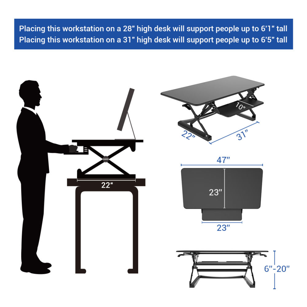 For Flexispot 47 Wide Platform Stand Up Desk Riser Adjule Standing Converter With Retractable Keyboard Tray White At Whole On