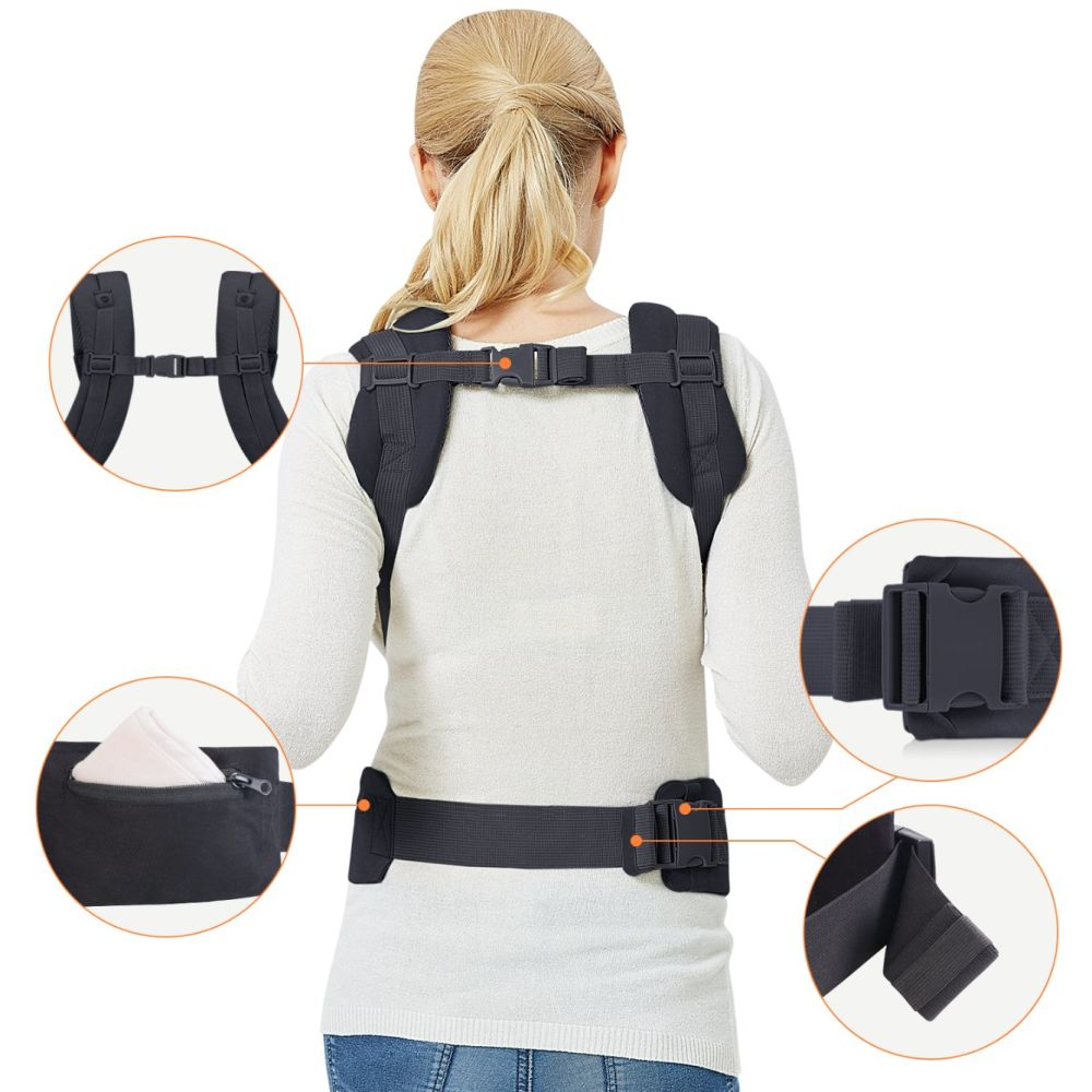 Soft Hip Seat  Hood Infant Toddler Baby Carrier Wrap Backpack Front and Back