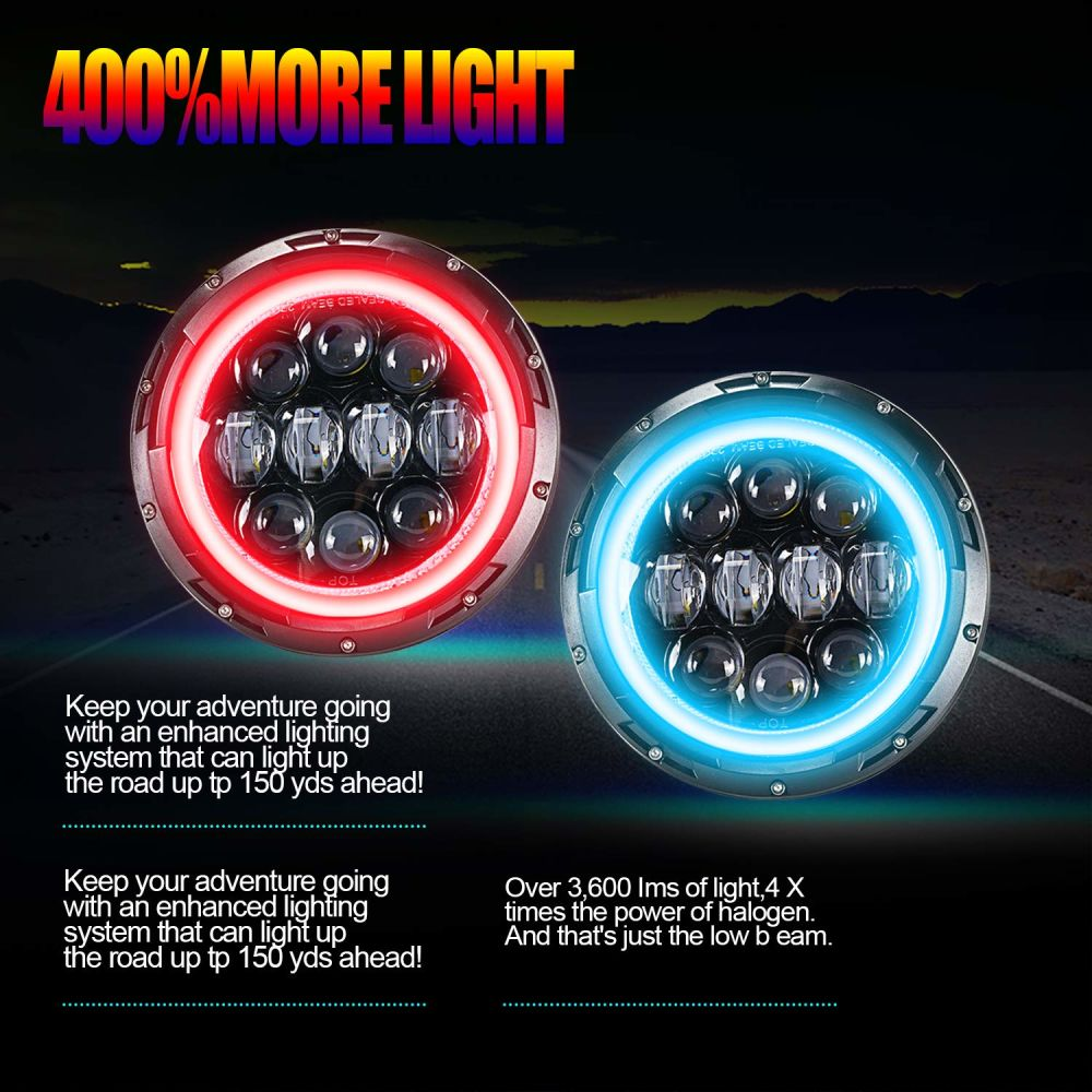 Shop for 7 Inch RGB Halo LED Headlights W/ 4