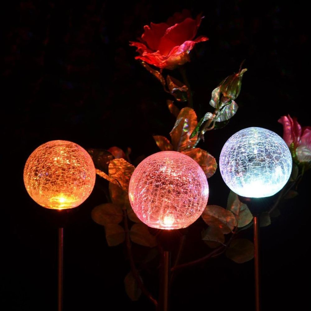 100% Quality Solar Pathway Lights Crackle Glass Globe Solar Lights Outdoor Color Changing Stainless Steel Solar Garden Lights 3 Packs Traveling Led Lawn Lamps Lights & Lighting