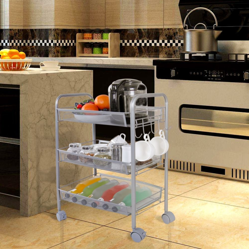 For Lifewit 3 Tier Storage Cart Multifunction Rolling Wire Rack Metal Mesh Shelf Trolley With Hooks At Whole Price On Crov