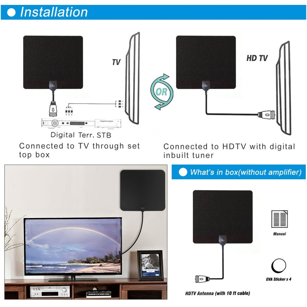 Shop For Indoor Hdtv Antenna With 10ft High Performance Coax Cable Digital Tv Better Reception Free Channels Hd By Shanhai