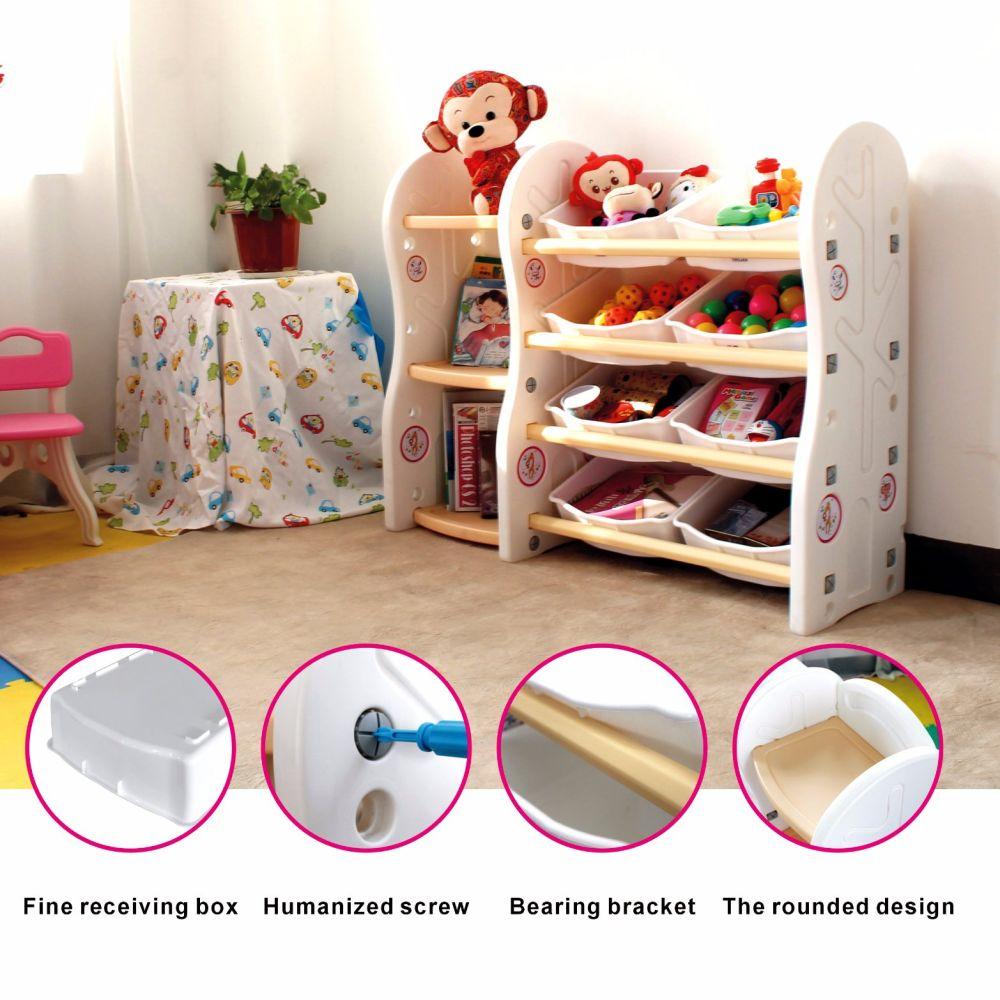 Gupamiga Toy Storage Organizer For Kids Collection Rack Of Children Deluxe  Plastic Bookshelf And Basket Frame ...