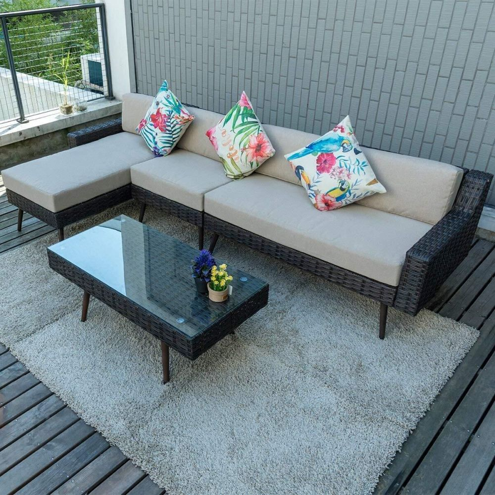 e51b5a62a0ef Shop for Pamapic Outdoor 4 Pieces Patio Furniture Sets PE Rattan Wicker  Outdoor Garden Sofa Set with Table (Mix Brown and Beige Cushion) at  Wholesale Price ...