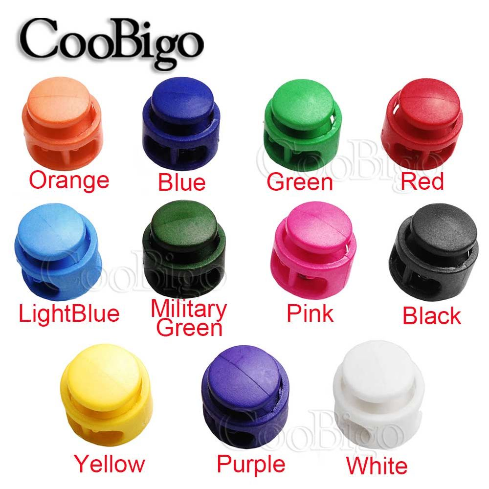 Multi-colors Plastic Stopper Apparel Shoelace Cord Lock Bean Toggle Clip
