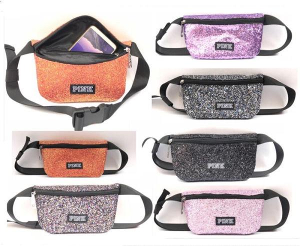 a2ce5243504 PINK Letter Sequin Waist Bag Glitter Fanny Packs Women Girls Travel Beach  Belt Shoulder Bag Fashion Handbags Makeup Bag Cosmetic Wallet 9 Color ...