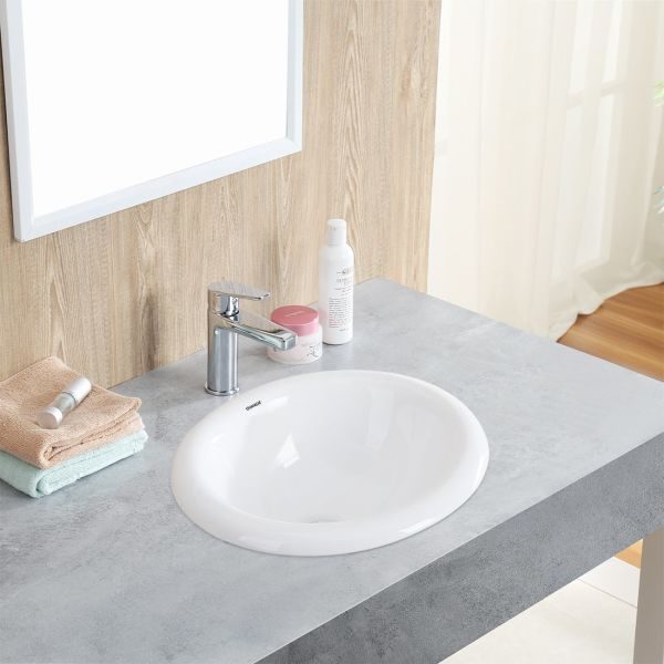 Changie 1004w Bathroom Top Mount Vanity Sink Porcelain Drop In Basin White 17x15 Inches
