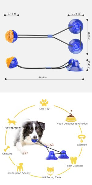 Double Suction Cup Rope Puzzle Toy Pet Molar Bite with Suction Cup Pet Molar Bite Toy Cleaning Teeth Safety Pets Supplies with Improves Oral Health and Food Dispensing Features Molar Training-Blue cup