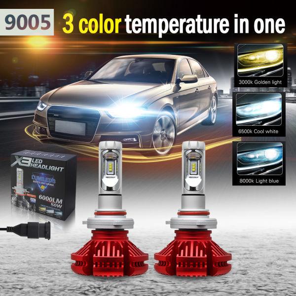 Colight LED Headlight Bulbs 9005 High/Low Beam Headlamp X3 Version ZES Chip  3 Color Temperature 3000K/6500K/8000K 6000LM IP67 Car Led Headlight 1 Pair