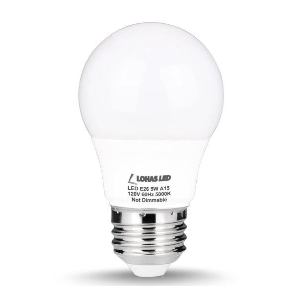 A15 LED Bulb, E26 Base, Non-Dimmable, 5W (40W Equivalent)