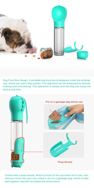 500ML Dog Water Bottle for Walking and Food Container 3 in 1Pet Dog Travel Bottle multi-function Feeding, Watering, Poop Bag, Outdoor Dog Bottle Pet Supplies New design Amazon Hot Sell, Blue