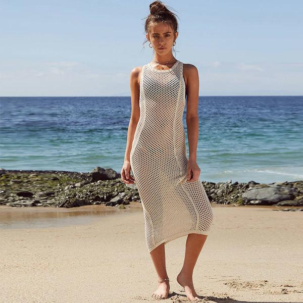 ea6e8c3faa4c1 Free Shipping Apricot Knit Vest Tank Beach Dress L38508 1 Piece / Bag