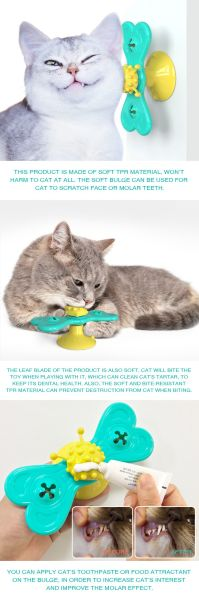 Turntable Spin Cat Toy, Butterfly Shaped Windmill Rotate Suction Kitten Teasing Toy Scratch Teeth Cleaning-Blue