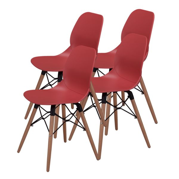 Mid Century Modern Dining Room Chairs - Eames Style DSW Side Chair with  Tufted Wooden Leg and Upgraded Base, Red, Set of 4 4 Pieces / Carton
