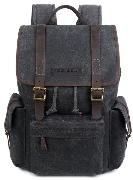 c5047dde97d Waxed Canvas and Leather Vintage Backpack College School Casual Unisex  Rucksack Camping Daypack Laptop Bag By