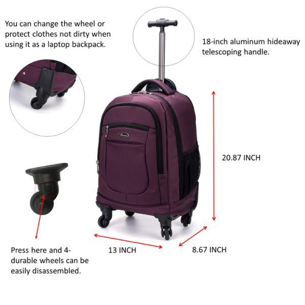 31e97835e3 Racini Nylon Waterproof Rolling Backpack