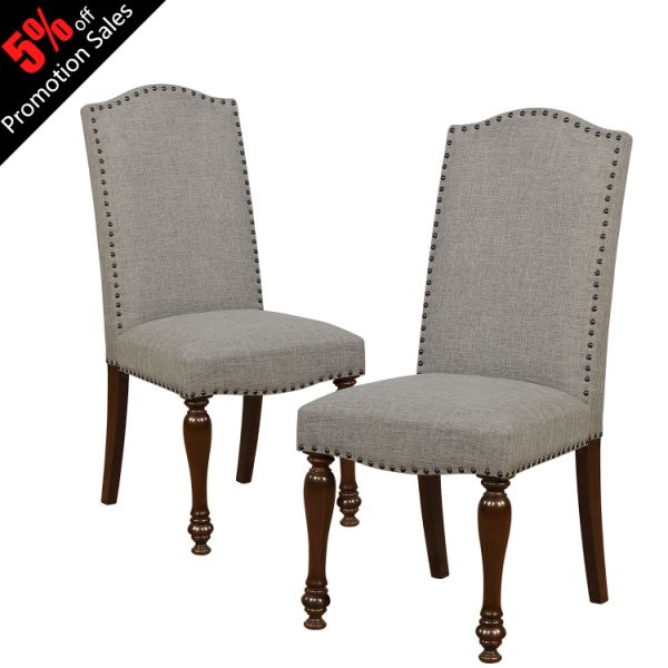 Argohome Luxurious Fabric Dining Chairs Clic Accent Copper Nails And Solid Wood Legs Set Of