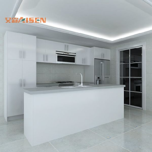 Customized Design White MDF Painted Lacquer Kitchen Cabinet 1 Set / sets