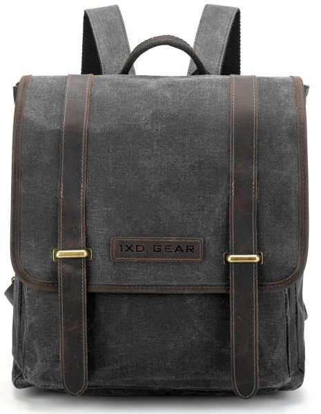 e0d66a83d9 Waxed Canvas and Leather Vintage Backpack College School Casual Unisex  Daypack Tablet Bag Fits laptop up