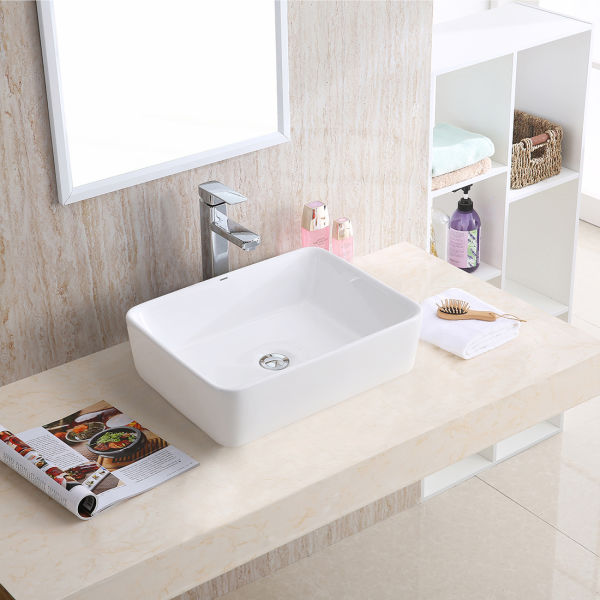 Changie 6030w Top Mount Vanity Bathroom Ceramic Vessel Basin White 19 X 15 Inches