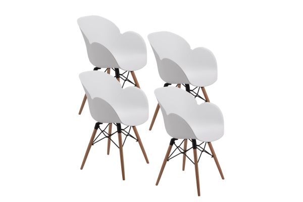 Terrific Mid Century Modern Dining Room Chairs Eames Style With Tufted Wooden Leg And Upgraded Base Set Of 4 4 Pieces Carton Machost Co Dining Chair Design Ideas Machostcouk