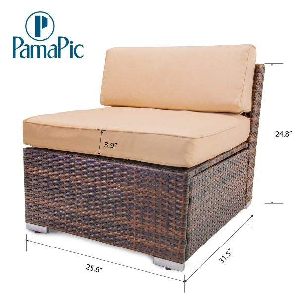 Brown Rattan Coffee Table Outdoor: Shop For Pamapic 7PCS Outdoor Patio Furniture Set Rattan