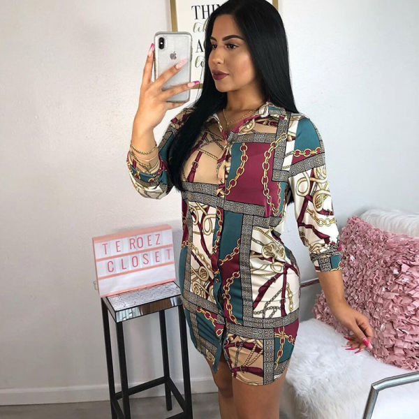 Free Shipping China Suppliers Wholesale Women Fashion Print Shirt Dress 1  Piece / Bag