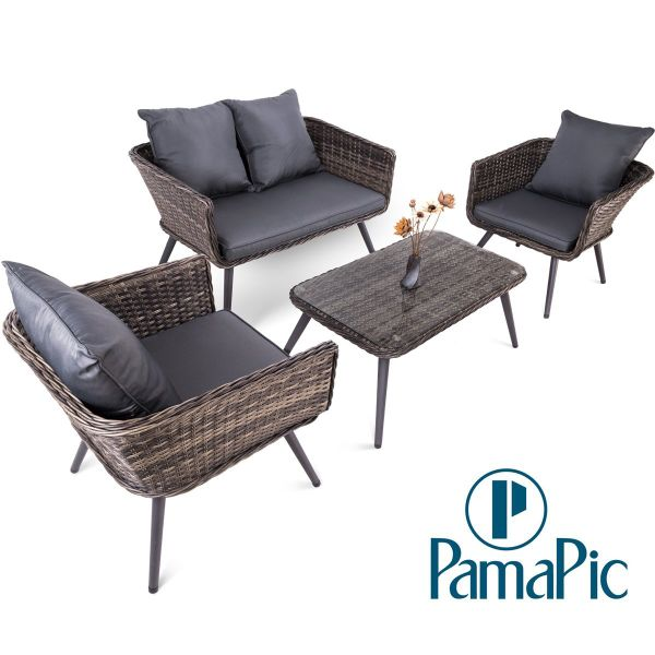 4 PCS Rattan Patio Furniture Set, PamaPic Indoor-Outdoor Wicker Sectional  Seat Cushioned Loveseat - Shop For 4 PCS Rattan Patio Furniture Set, PamaPic Indoor-Outdoor
