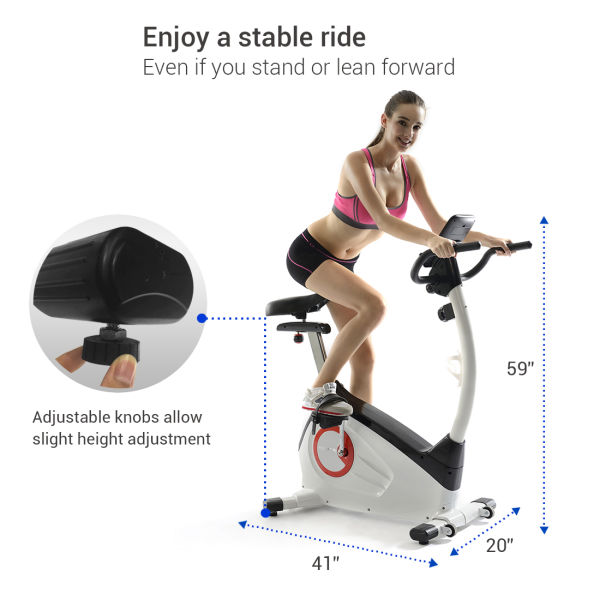 Fitleader UF1 Upright Stationary Removable Exercise Bike, White