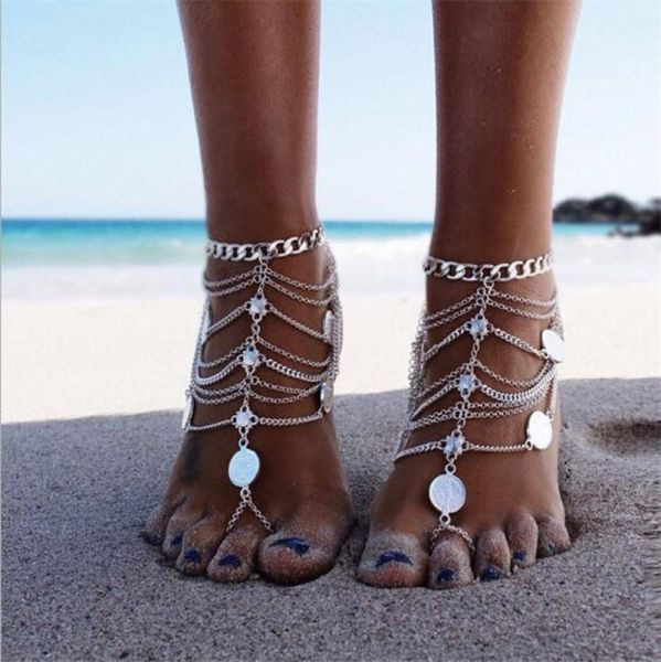 ef22bd68ef0ae5 New Arrival Barefoot Sandals For Girls Silver Beach Anklets With Toe Ring  One Pair Feet Jewelry