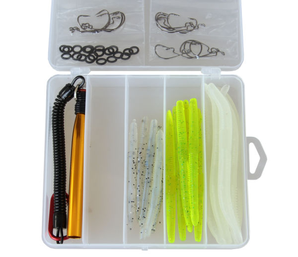 Fishing Lures lot Soft Baits Tackle Set Including Worms Fishing Hooks  O-Rings and Wacky Rig O-Ring Tool for Saltwater Freshwater Fishing 65  Pieces /
