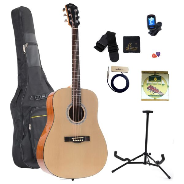 WINZZ 41'' Full Size Dreadnought Acoustic Steel Strings Guitar with Bag, Picks, Strap, String, Digital Tuner and Stand