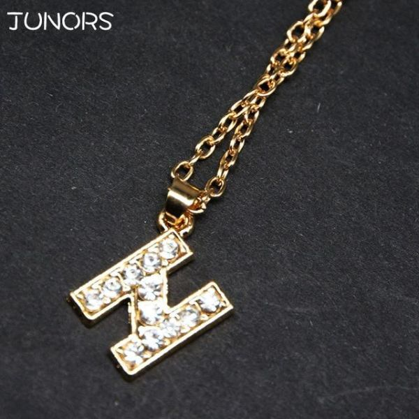 16758f2b6 ... Letter For Women. For 1pcs Lot Hot S Crystal Tiny Gold Initial Necklace