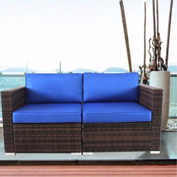 Groovy Outime Patio Furniture Sectional 2Pcs Corner Sofas Conversation Couch Set Pe Rattan Brown Rattan Royal Cushion 1 Set Carton Pabps2019 Chair Design Images Pabps2019Com