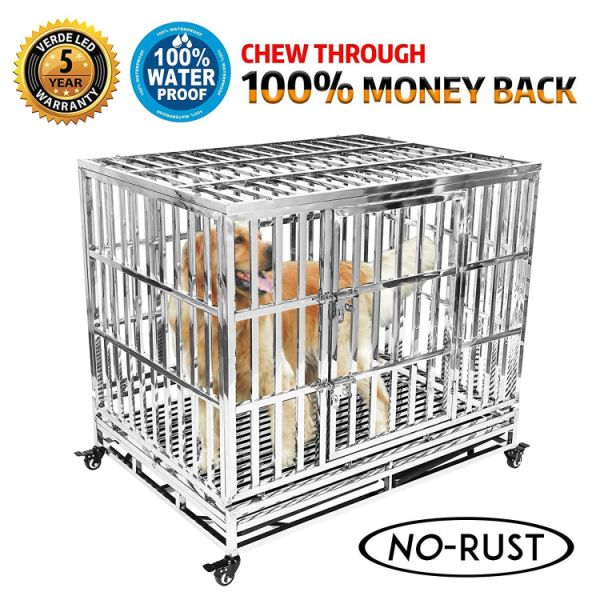 Heavy Duty Stainless Steel Dog Crate Strong Metal Pet Kennel Playpen Two  Prevent Escape Lock, Large Dogs Cage Wheels, Black 1 Piece / Carton