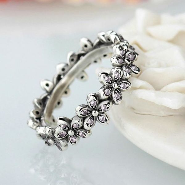 Shop For Fashion Flowers Pandora Finger Rings Clear Cz Dazzling