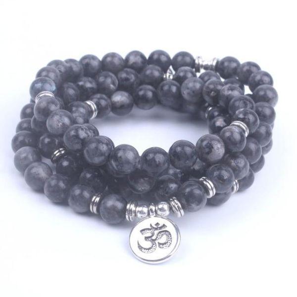 108 Mala Labradorite with Lotus Om Buddha Charm Yoga Bracelet or Necklace  Natural Stone Jewelry Dropshipping, OM 1 Piece / Box