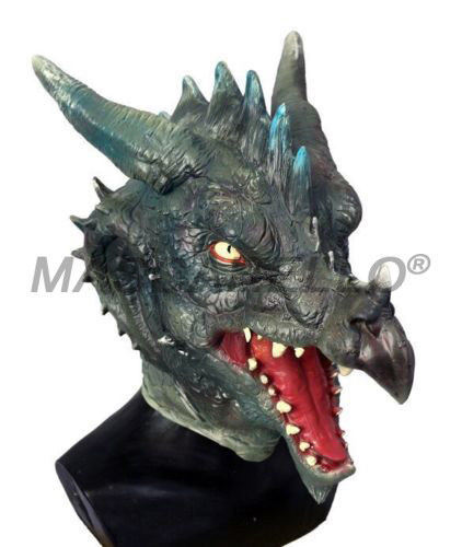 Halloween Dragon Head Monster Green Dragon Latex Mask Cosplay Costume Carnival Fancy Dress Up