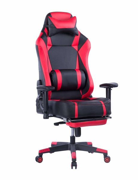 shop for von racer big and tall gaming chair with footrest adjustable tilt back angle and 2d. Black Bedroom Furniture Sets. Home Design Ideas