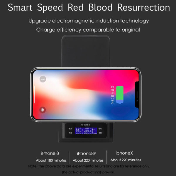 Fast Wireless Charger,CYBORIS Stand Station Qi Wireless Charger with LCD  Display for Apple iPhone X iPhone 8 iPhone 8 Plus, Stand Quick Wireless