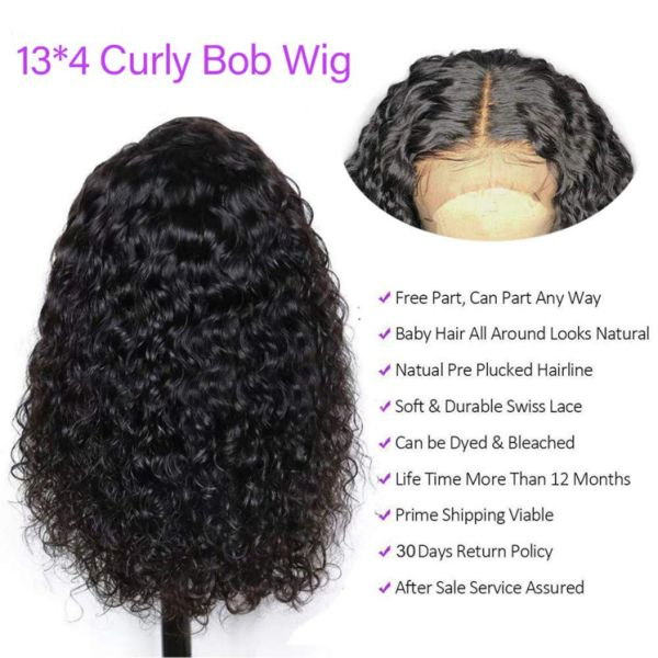 Short Curly Bob Wigs Brazilian Virgin Human Hair 150% Density 13x4 Lace Front Wigs Kinky Curly Hair For Black Women Pre Plucked with Baby Hair 8inch(20.3cm)