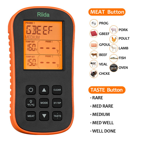 Riida TM08 Grilling Thermometer Wireless Remote Cooking Food Barbecue Digital Remote Read Whit Dual Probe Programmable Radio Frequency Thermometer