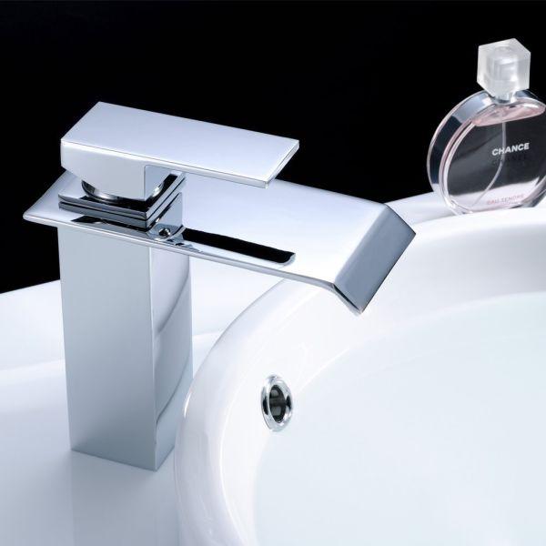 FLG Modern Deck Mount Single Handle Widespread Waterfall Bathroom Sink Faucet Chrome