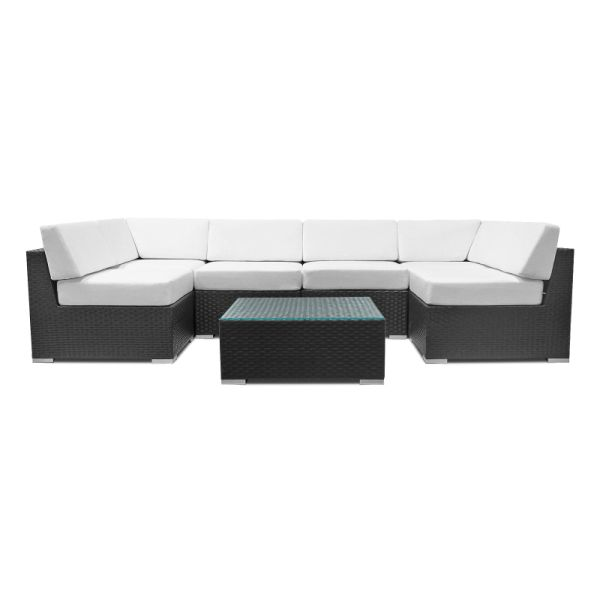 Patio Wicker Sectional Sofa Set Outdoor Furniture Rattan Couch 7 Pcs