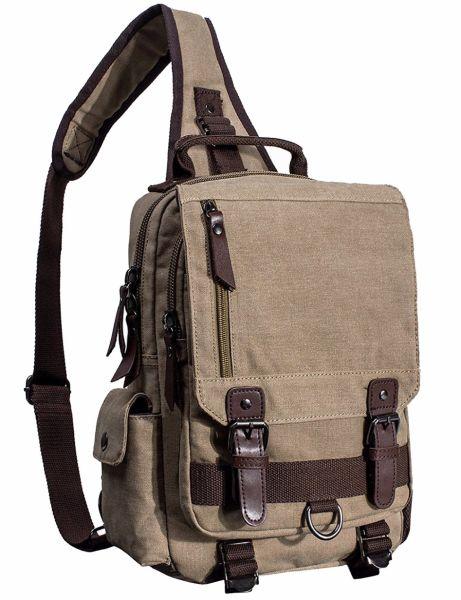 3c685af6d52 Mygreen Sling Canvas Cross Body 13-Inch Laptop Messenger Bag Shoulder  Backpack Khaki Single Shoulder